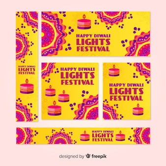 Confezione da banner web di diwali piatti