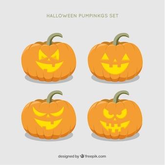 Confezione da belle zucche di halloween