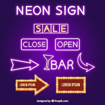Confezione da cartelli al neon