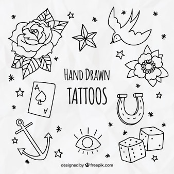 Confezione da decorativi tatuaggi disegnati a mano
