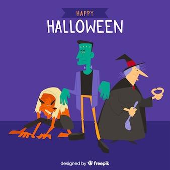 Confezione da design piatto di creature di halloween