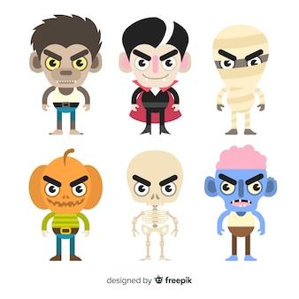 Confezione da design piatto di personaggi di halloween
