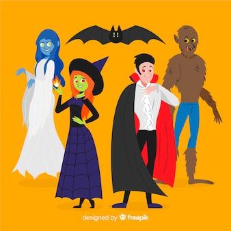 Confezione da disegno disegnato a mano di creature di halloween