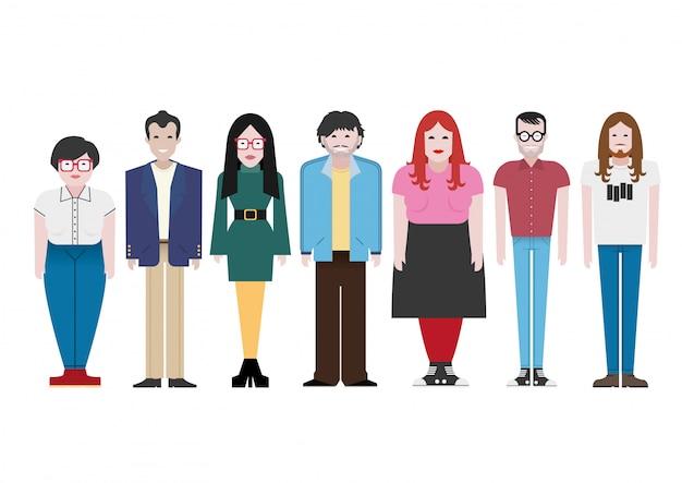 Confezione da otto illustrazioni di carattere vettoriale di giovani uomini e donne