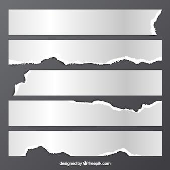 Confezione da pezzi di carta bianca strappata