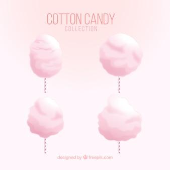 Confezione da quattro caramelle di cotone rosa