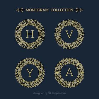 Confezione da quattro monogrammi di oro rotondo