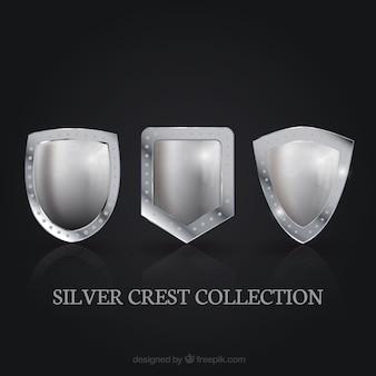 Confezione da tre creste d'argento