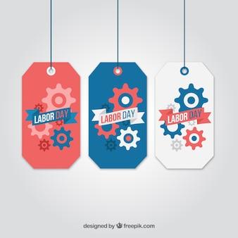 Confezione da tre etichette giorno di lavoro con gli attrezzi