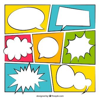 Confezione da vignetta fumetto colorato con palloncini di dialogo