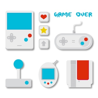 Confezione di accessori per videogiochi in design piatto