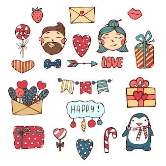Confezione di adesivi amore con cuori. cuori e parole disegnati a mano nello stile di scarabocchio.