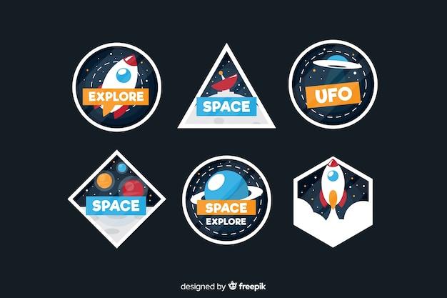 Confezione di adesivi spaziali moderni