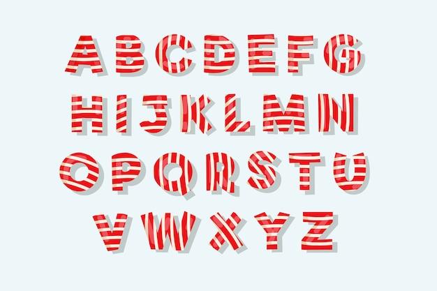 Confezione di alfabeto di natale di canna di caramella