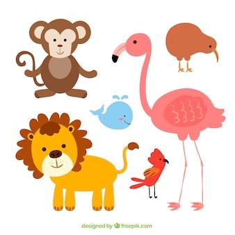 Confezione di animali carini con disegno piatto