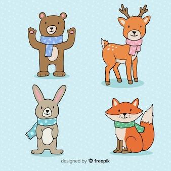 Confezione di animali della foresta dei cartoni animati