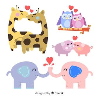 Confezione di animali di san valentino