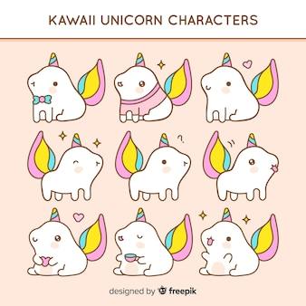 Confezione di animali kawaii disegnata a mano