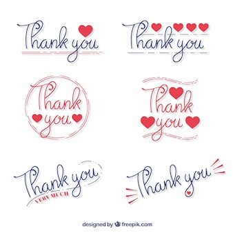 Confezione di autoadesivi di ringraziamento a mano scritta