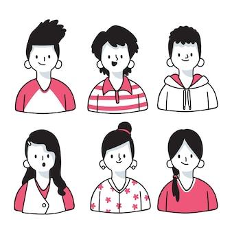 Confezione di avatar di persone diverse