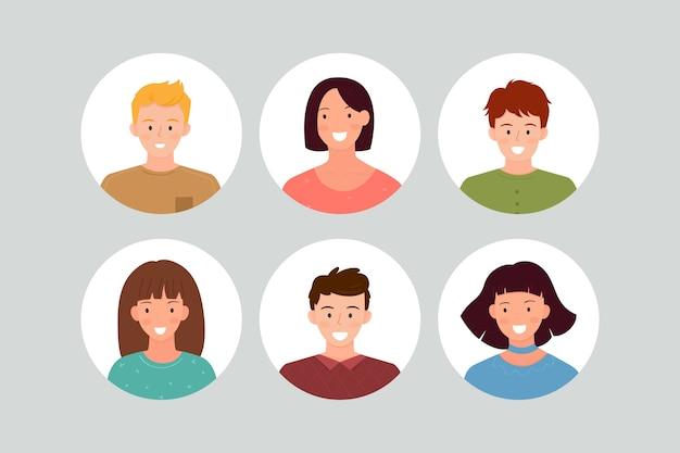 Confezione di avatar per persone diverse