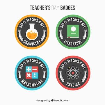 Confezione di badge festa degli insegnanti rotonda