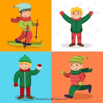 Confezione di bambini felici in inverno