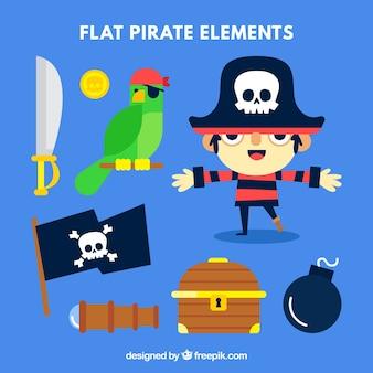 Confezione di bambino pirata con pappagallo e altri elementi