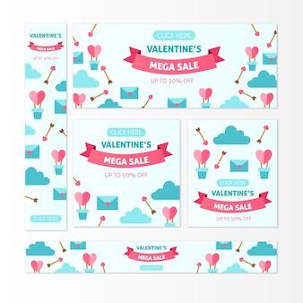 Confezione di banner di vendita di san valentino disegnati a mano