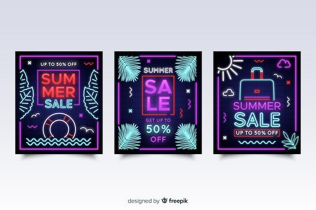 Confezione di banner di vendita estate segno al neon
