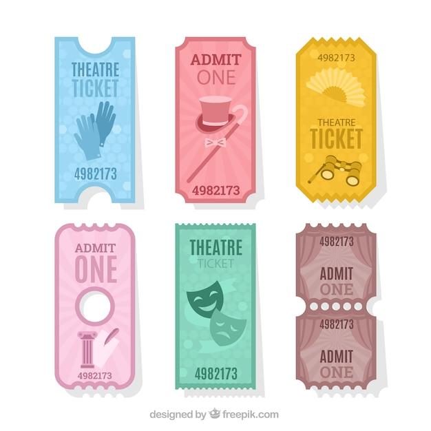 Confezione di biglietti per il teatro d'epoca
