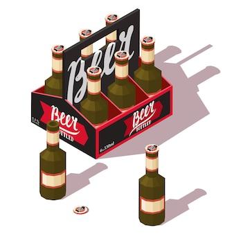 Confezione di birra con bottiglie di birra aperte e chiuse