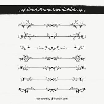Confezione di bordi ornamentali vintage disegnati a mano