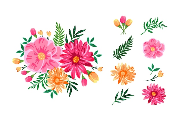 Confezione di bouquet floreali 2d colorati