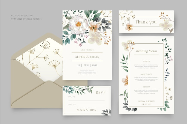 Confezione di cancelleria per matrimonio floreale
