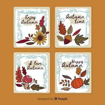 Confezione di carte autunnali disegnate a mano