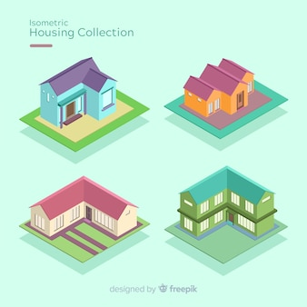 Confezione di case isometriche