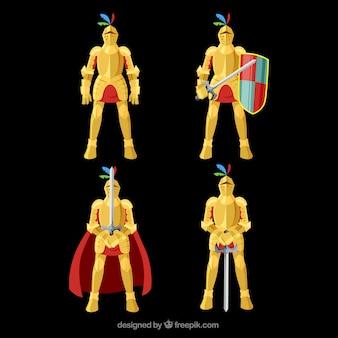 Confezione di cavalieri con armatura dorata