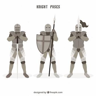 Confezione di cavalieri in diverse posizioni