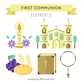 Confezione di chiesa e altri elementi di prima comunione