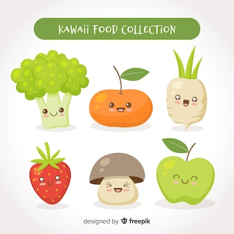 Confezione di cibo fresco kawaii disegnato a mano