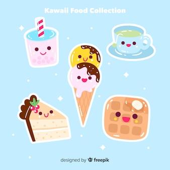 Confezione di cibo kawaii disegnato a mano