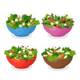 Confezione di ciotole di frutta e insalata