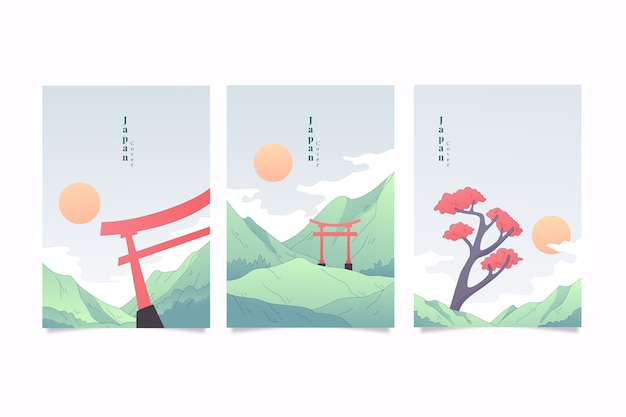 Confezione di copertine giapponesi minimaliste