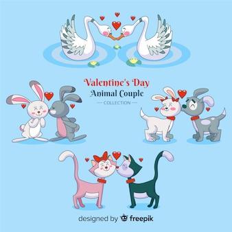 Confezione di coppia di animali cartoon san valentino
