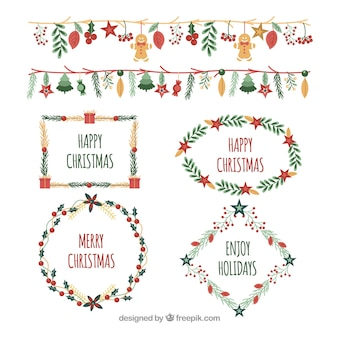Confezione di cornici acquerello e bordi natalizi