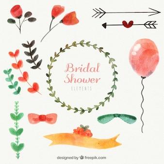 Confezione di decorazione di nozze acquerello