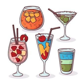 Confezione di deliziosi cocktail disegnati