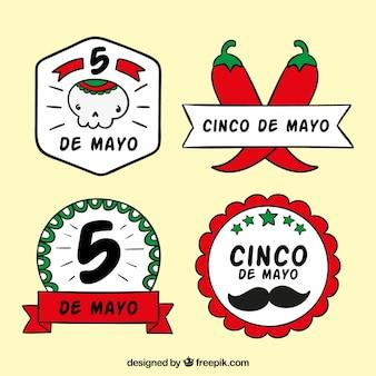 Confezione di disegnati a mano adesivi cinco de mayo