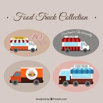 Confezione di disegnati a mano camion cibo